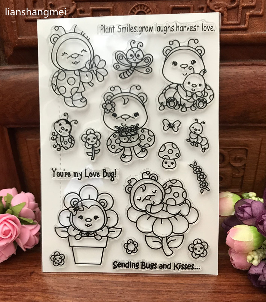 Cute ladybug Transparent Clear Silicone Stamp/Seal for DIY scrapbooking/photo album Decorative clear stamp sheets chicken animals transparent clear silicone stamp seal for diy scrapbooking photo album decorative clear stamp sheets a547