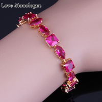 Love Monologue The Unique Design ! Fondness Red Crystal Bracelets Yellow Gold Color Chain & Link Bracelets 18CM X0182