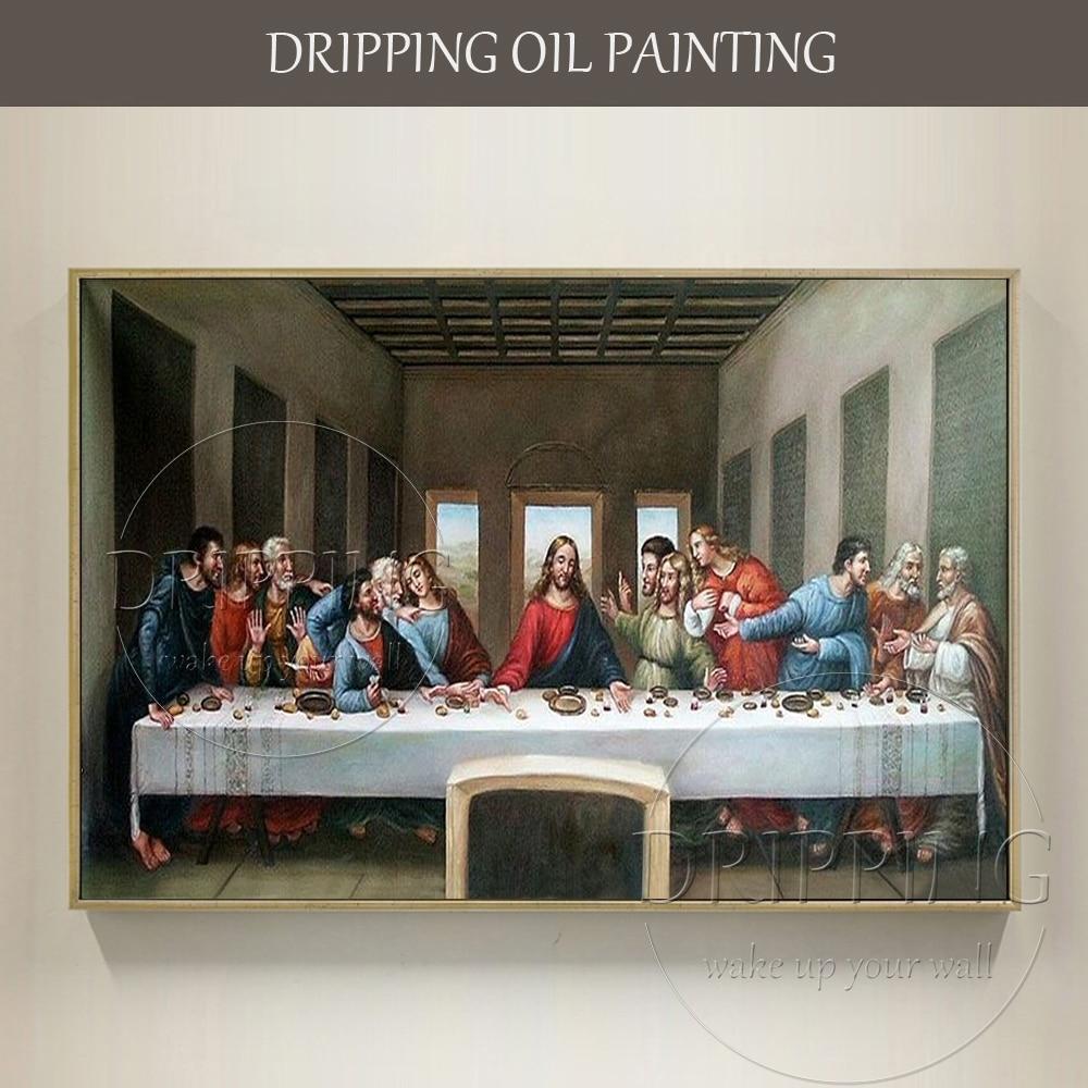 Most Famous Artwork Reproduction Da Vinci Art The Last Supper Oil Painting on Canvas Hand-painted Jesus