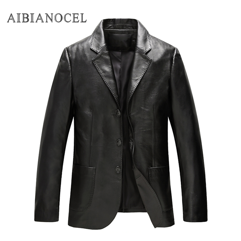 2017 Brand New Spring Autumn Men Sheepkin Leather Jacket Business Casual Coats Male Windbreaker Mens Genuine Leather Jacket