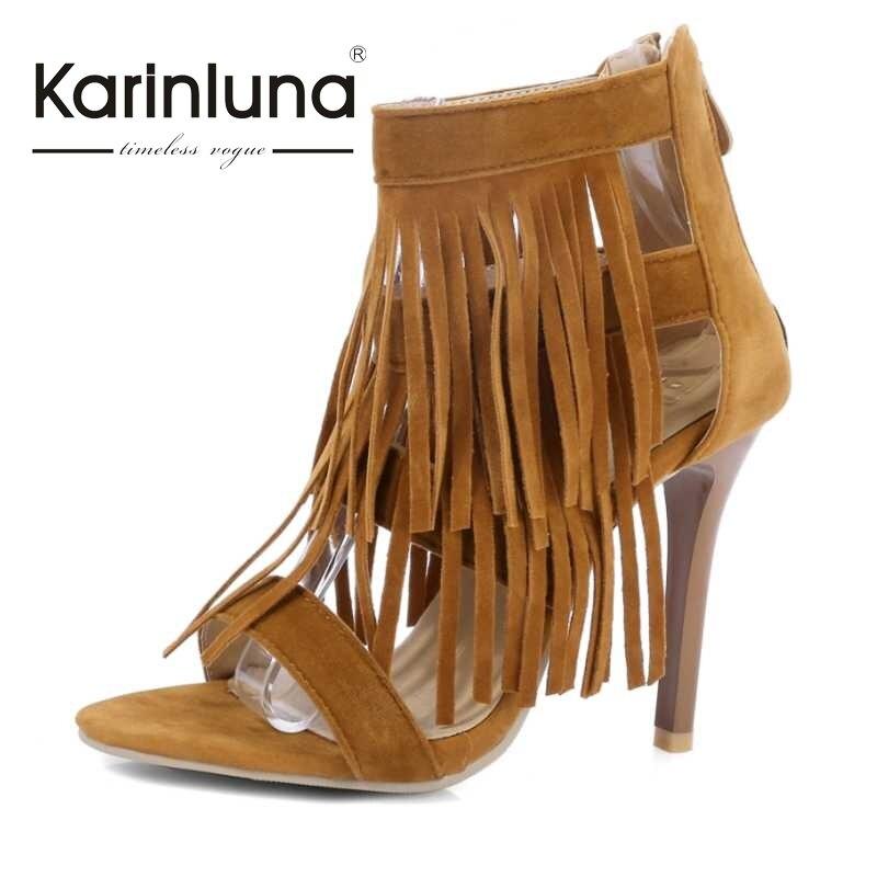 ФОТО KARINLUNA Fashion Ladies Tassel Summer Shoes Woman Thin High Heels Zipper Closure Open Toe Less Platform Sandals Party Wedding