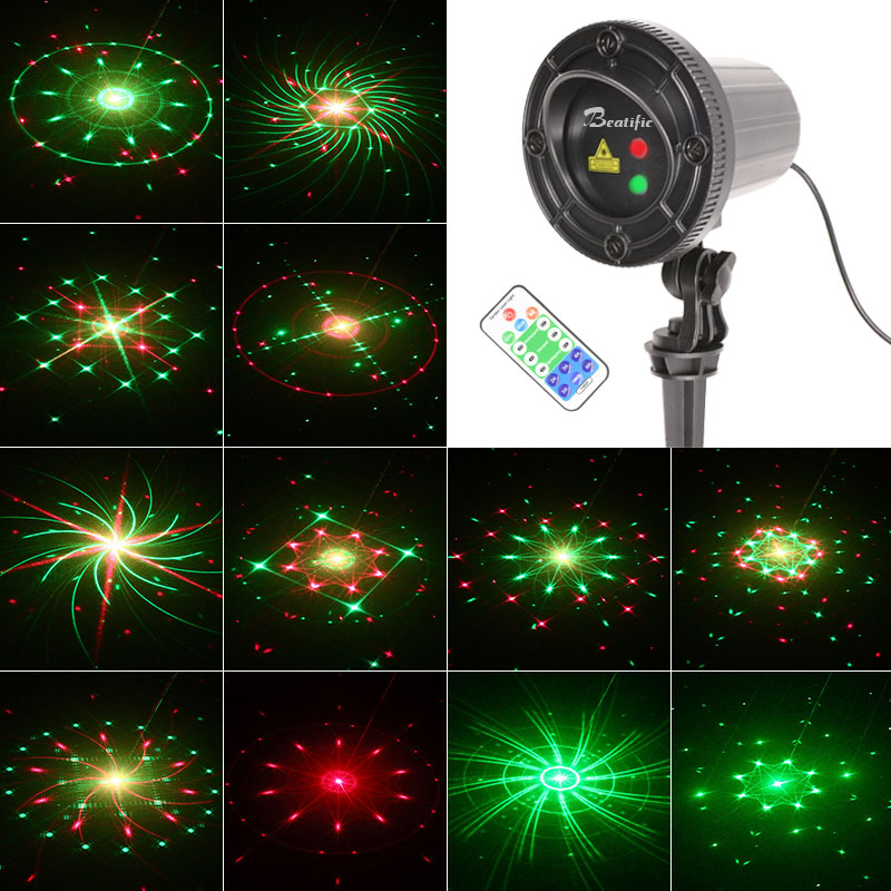 Outdoor Christmas Star Lights Laser Projector Shower 24 Patterns Motion Effect RF Remote Waterproof IP65 Garden Fairy Light christmas laser lights outdoor projector motion 12 xmas patterns waterproof ip65 rf remote for garden landscape decoration