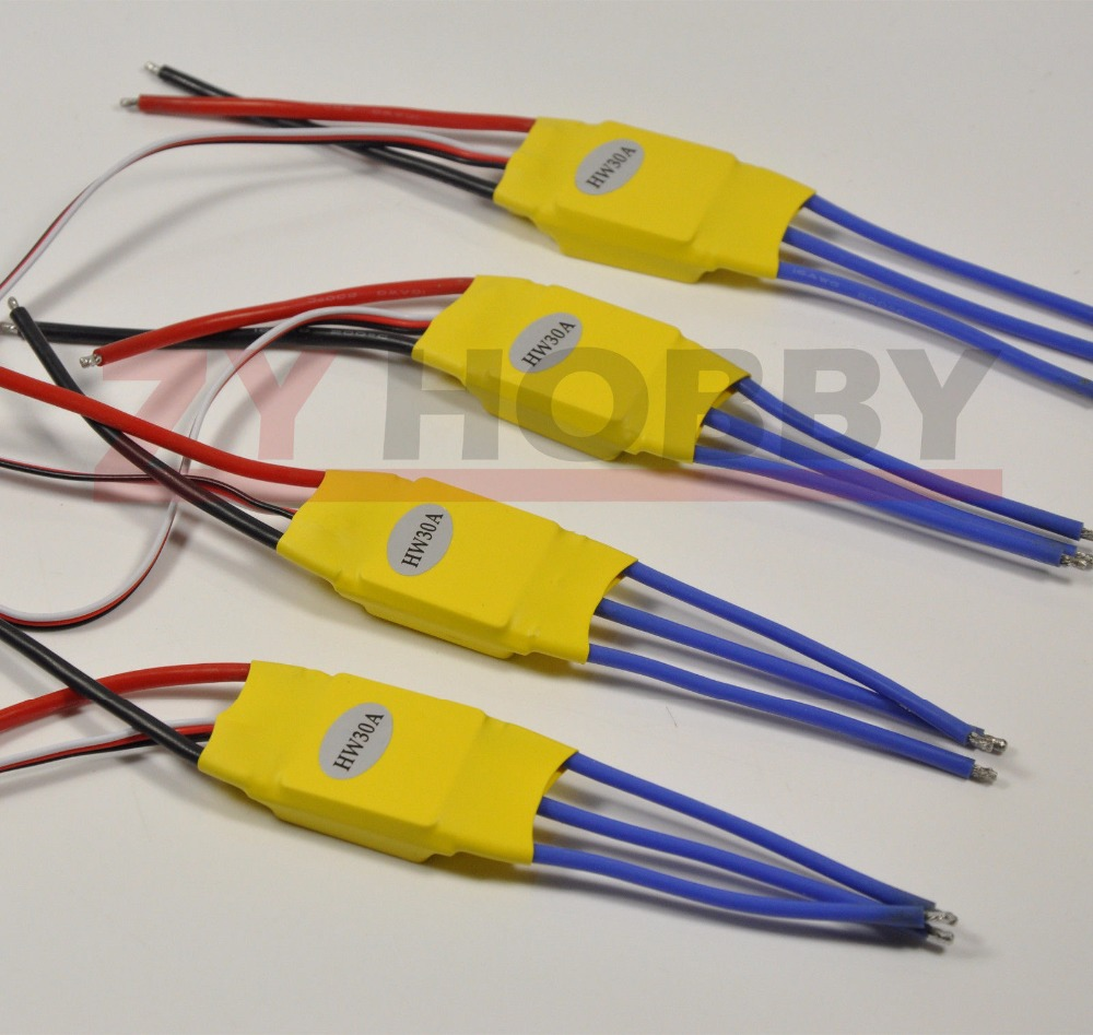 4PC ESC 30A Brushless 450 Helicopter Multicopter Motor ESC Speed Controller 1pcs original hotrc 30a brushless motor esc speed controller with jst plug for rc quadcopter rc helicopter multicopter