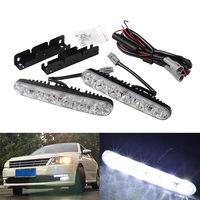 2pcs 12V 6 LED Car Daytime Running Light Fog Driving DRL Daylights Auto Lamp Aluminum Fog
