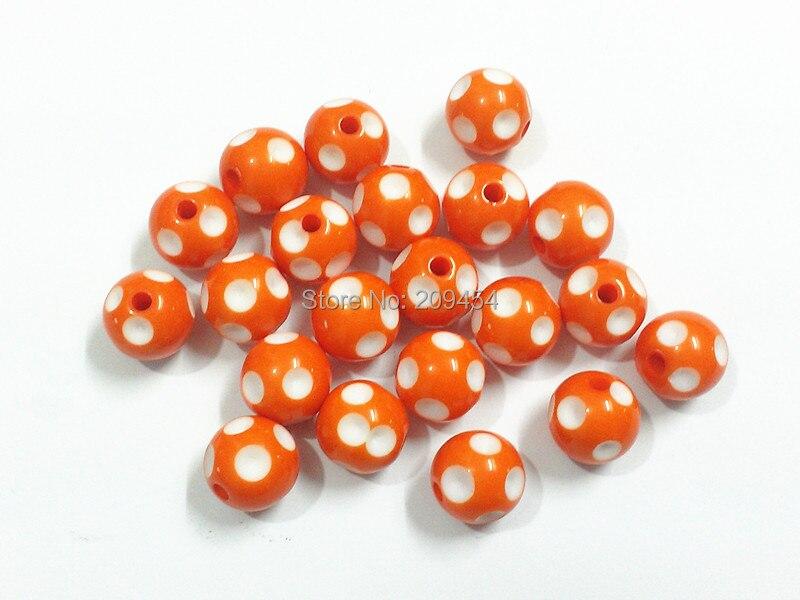(Выберите размер сначала) 12 мм/14 мм/16 мм Оранжевые Бусины в горошек