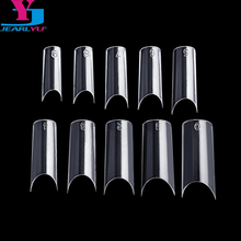 New 500 Pcs Clear Nail Tips High Quality Plastic Nails C Shape Faux Ongle French Manucure Medium Nails Dual Form Nail System Kit
