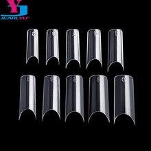 Nuevo 500 Uds claro puntas de uñas de alta calidad uñas plásticas en forma de C de Ongle francés Manucure medio uñas doble forma de uñas Kit de sistema