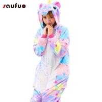 Anime Winter Kigurumi Unicorn Pajamas Flannel Onesie For Adult Women Ladies Cartoon Hoodie Pijama Unicornio Cute
