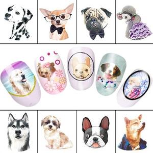 Image 2 - 11 tasarımlar güzel köpek hayvanlar desen su tırnak dövme transferi tırnak çıkartma DIY manikür güzellik araçları # LABLE2292 2302