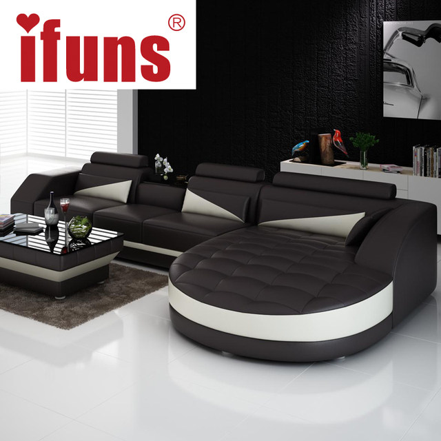 Ifuns Black White Modern European Furniture Luxury Quality Leather Sofas L Shape Sectional Sofa Set