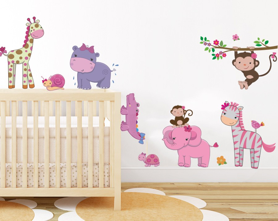 Girly jungle animals wall art decor baby safari wall for Baby girl wall decoration