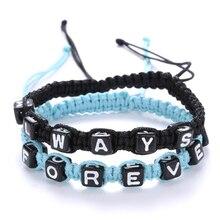 """""""ALWAYS FROEVER"""" Lovers Bracelet with Key Lock for Lover Handmade Weaving Braided Couple Bracelet Valentine's Gift"""