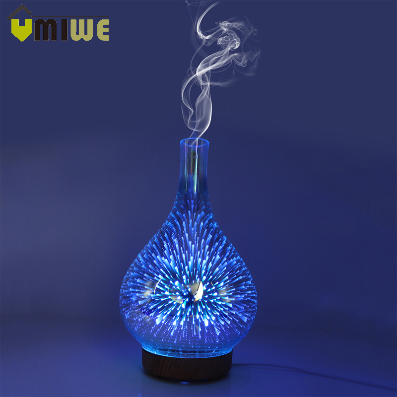3D Fireworks LED Night Light Air Humidifier Glass Vase Shape Aroma Essential Oil Diffuser Mist Maker