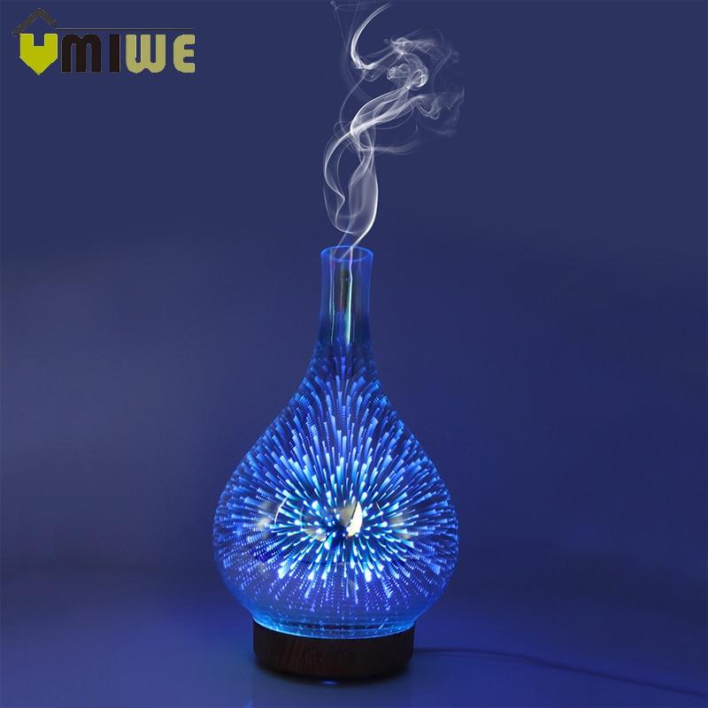 3D fuegos artificiales LED noche luz humidificador de aire florero de vidrio forma de Aroma de aceite esencial difusor fabricante de la niebla humidificador ultrasónico regalo