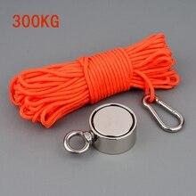 ГОРЯЧАЯ 300 кг Pull 60 мм N52 Ndfeb спасательный анти-столкновения магнит двухсторонний круглый магнит с веревочной пряжкой