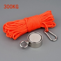 Hot 300Kg Pull 60Mm N52 Ndfeb Salvage Anti Collision Magnet Double Sided Round Magnet With Rope Buckle