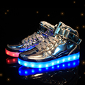 Размер 25-37 USB Зарядка Новые Случайные Спортивные Дети Shoes Kids With Led Light Up Мальчики и Девочки Shoes Световой Светящийся кроссовки