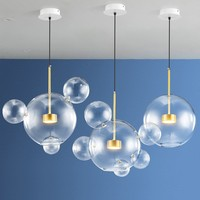 Postmodern soap bubble ball chandelier home creative living room bar chandelier Nordic Mickey glass lamps Natural white 110 240v