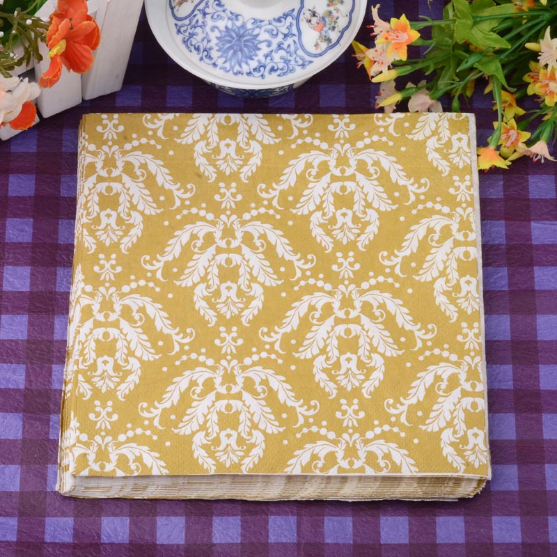 20pcs/lot 6.5*6.5 inch Golden Abstract Totem Chevron Paper Party Napkins 2 Layers Fold Wedding Decor Party Tableware Supplies