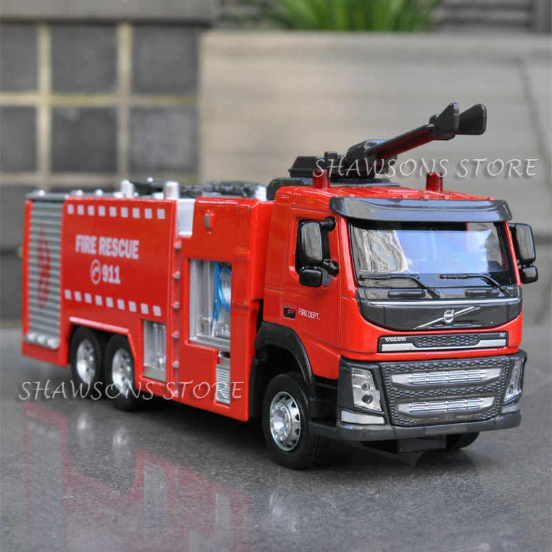 1:50 Diecast Metal Volvo Truk Pemadam Kebakaran Model Mainan Pumper Replika Sound & Light