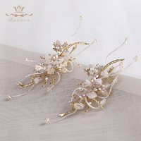 Bavoen Handmade Wedding Nature Crystal Hair Sticks Wedding Gold Butterfly Hair Comb Birthday Gift