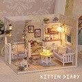 Gabinete de madera educativo del rompecabezas diy de los niños casa de muñecas muebles mini 3d toys pretend play toys regalo de cumpleaños de los hogares