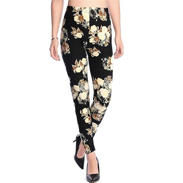 New 2019 Print Flower Leggings Leggins Plus Size Legins Guitar Plaid Thin Nine Pants Fashion Women Clothing Aptitud Trousers 1