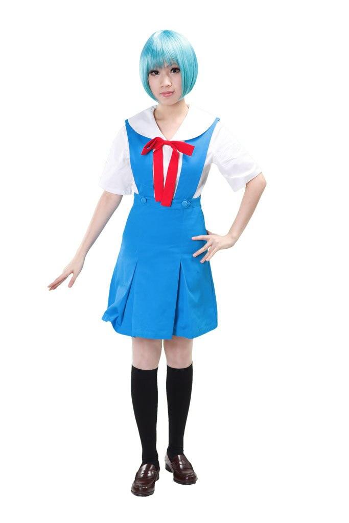 Бесплатная доставка Евангелион Ayanami Rei Токио-3 школьная Униформа аниме Косплэй костюм