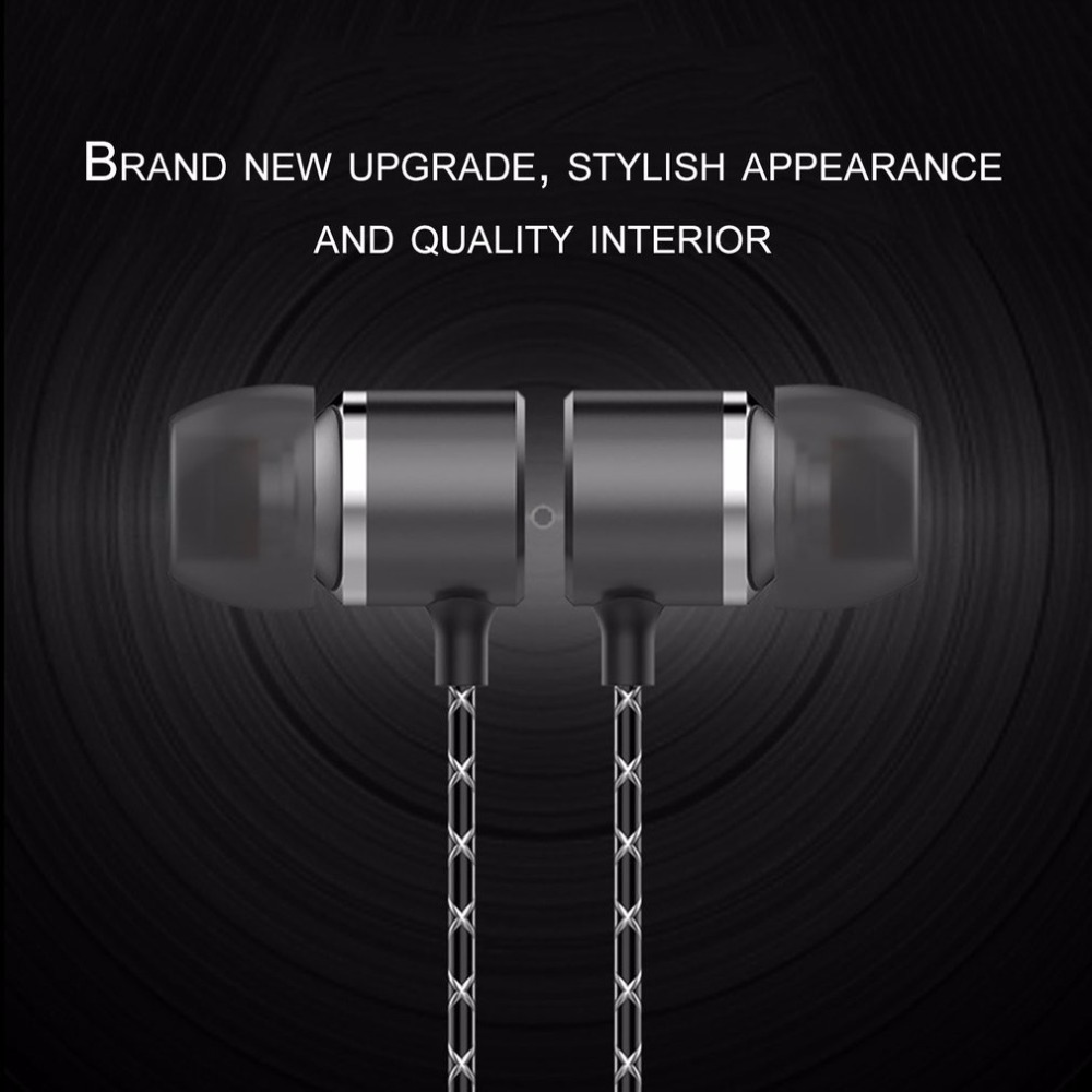 Fashionable Universal Wired In Ear Earbuds Metal Earphone Stereo Bass 3 5mm With Built in Mircrophone