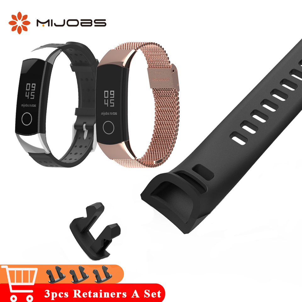 Galleria fotografica Mijobs 3pcs Retainer Holder for Honor Band 4 Band Wrist Strap Bracelet for Huawei Honor Band 4 Smart Watch Wristband Accessories