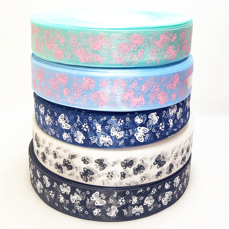 25mm Cartoon Butterfly Ribbons Printed Organza Ribbon Tape for Needlework DIY Gift wrapping Decoration 5meters/lot