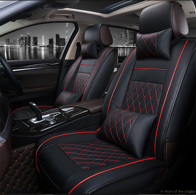 OUZHI easy clean firm grid pu leather car seat cover for NISSAN qashqai j11 mitsubishi asx front rear universal seat covers for nissan paladin qashqai x trail murano red black brand luxury car leather seat cover front