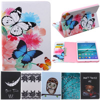 Butterfly Owl Cartoon PU Leather Flip Stand Cover Cases For Samsung Galaxy Tab S2 8 0