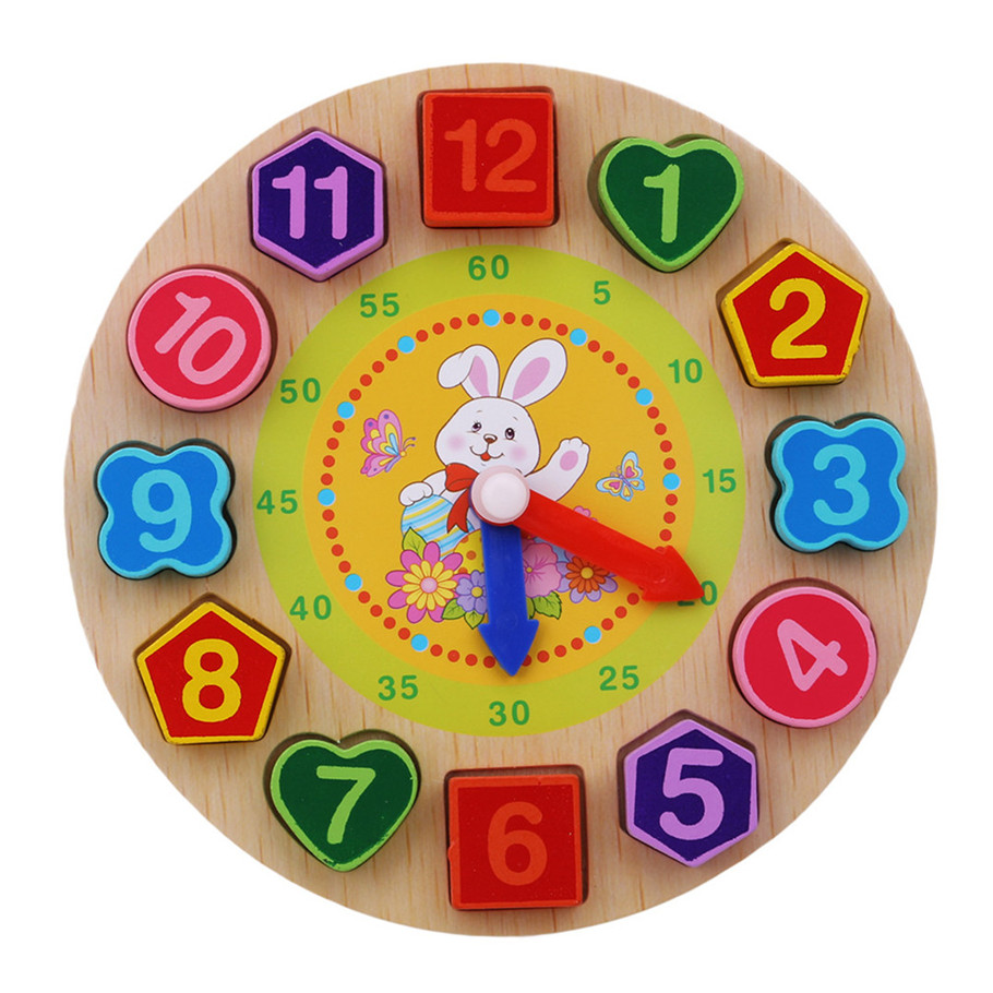 Wooden Toy Colorful 12 Numbers Clock Toy Digital Geometry Cognitive Matching Clock Toy Baby Kids Early Educational Toy Puzzles