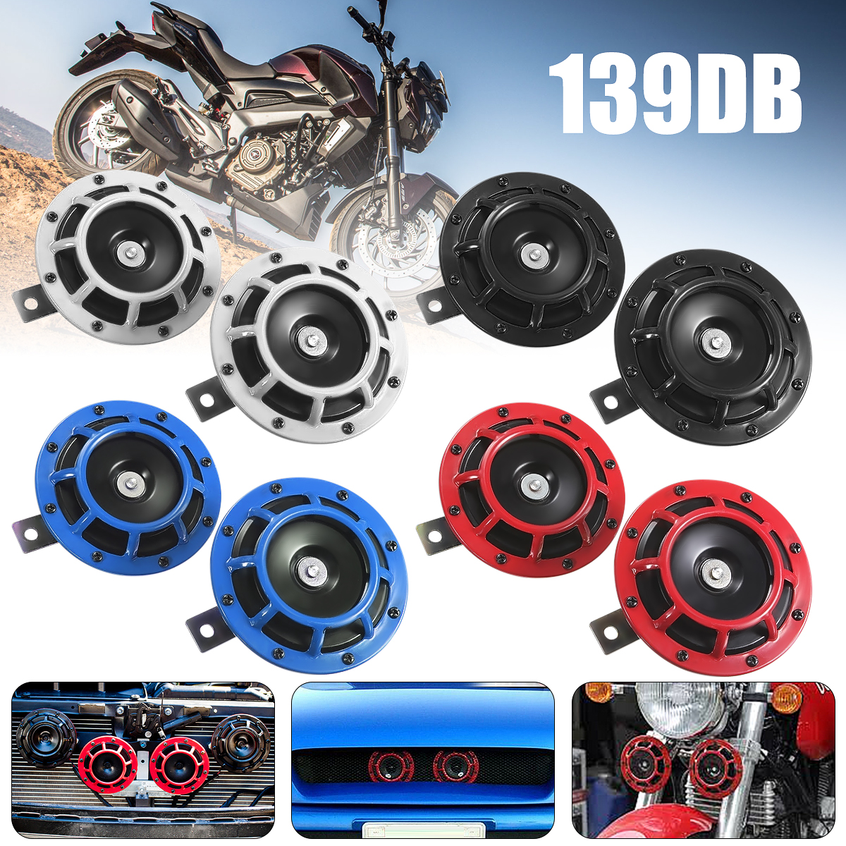 Universal Motorcycle Car Siren Dual Tone Electric Pump Loud Air Horn 12V 139db Off-road Super Loud Compact Electric Blast Tone vodool 12v 125db car motorcycle truck horn compact electric pump air loud horn high quality for motorcycle car truck