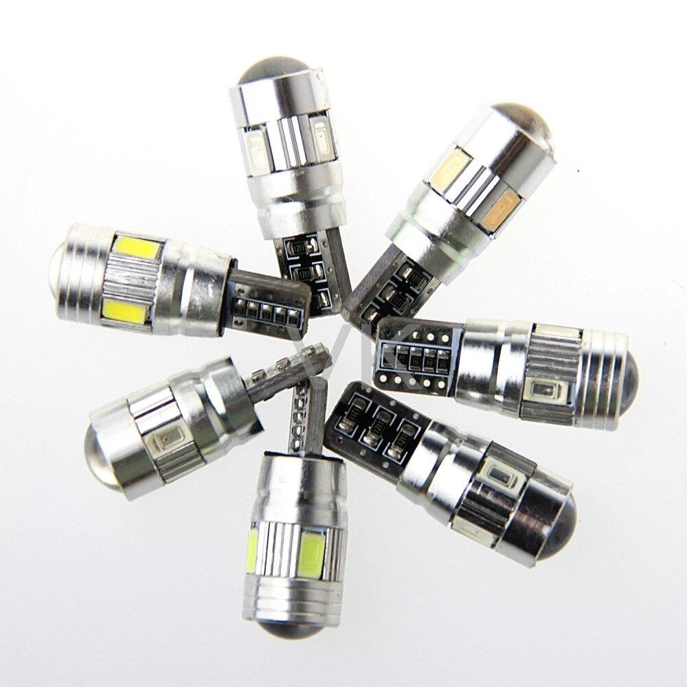6PCS T10 W5W LED car interior light cob marker lamp 501 194 168 6leds 5630 5730 SMD Canbus Led Bulb NO OBC ERROR Car side wedge