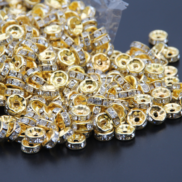 Gold Color Crystal Rhinestones Beads 6mm 8mm 10mm Rondelle Spacer Beads  500pcs pack For Bracelet Jewelry Making DIY 8f5518393e9f