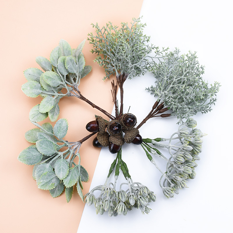 6PCS Artificial Plants Decorative Flowers Wreaths Wedding Home Decoration Accessories Diy Gift Box A Cap Scrapbooking Floristics