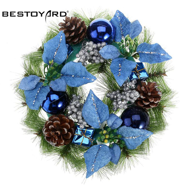 BESTOYARD NEW 30cm Cheap Christmas Wreath Front Door Blue Hanging Garland  With Pine Cone Pearls For