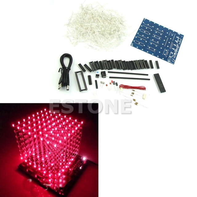 8x8x8 3D LED LightSquared LED Cube White LED Red Ray DIY New Kit