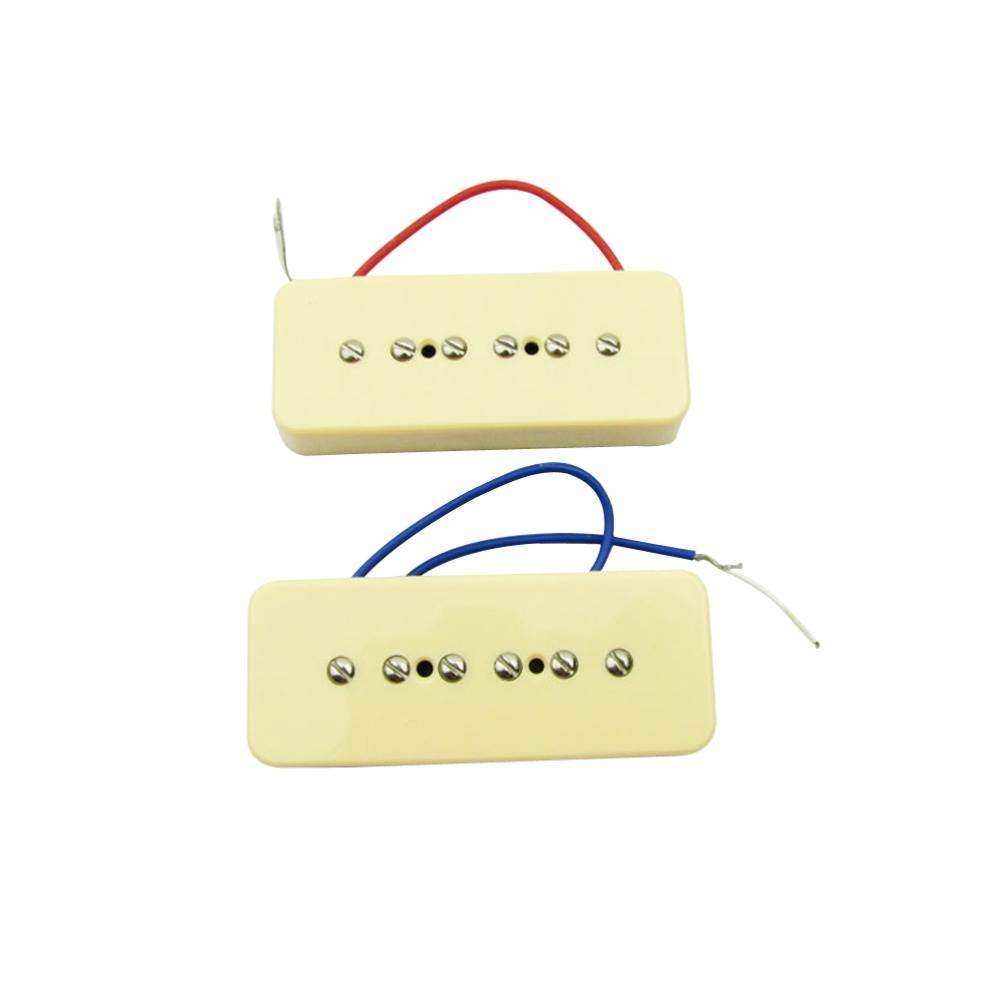 2pcs Glod Guitar Parts Pickups Humbucker Double Coil Bridge Neck 4 Wire Wiring Diagram Gibson Les Paul Musiclily Plastic P90 Soapbar Cover Single For Lp