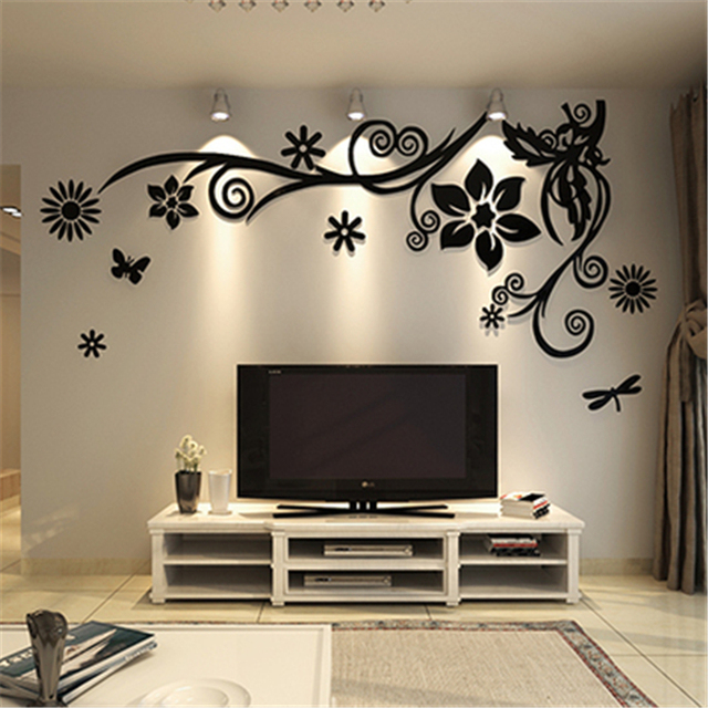 3D stereo Flower vine Acrylic Crystal Wall stickers Home Decor Diy Mirror Wall sticker Tree Living room Sofa TV Background Decal 4