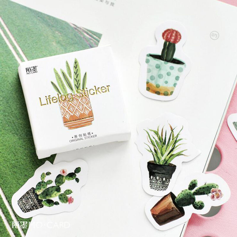 45 pcs/pack Pot Cultured Green Plants Label Stickers Decorative Stationery Stickers Scrapbooking DIY Diary Album Stick Label jacquard green label silk colors cyan [pack of 3 ]