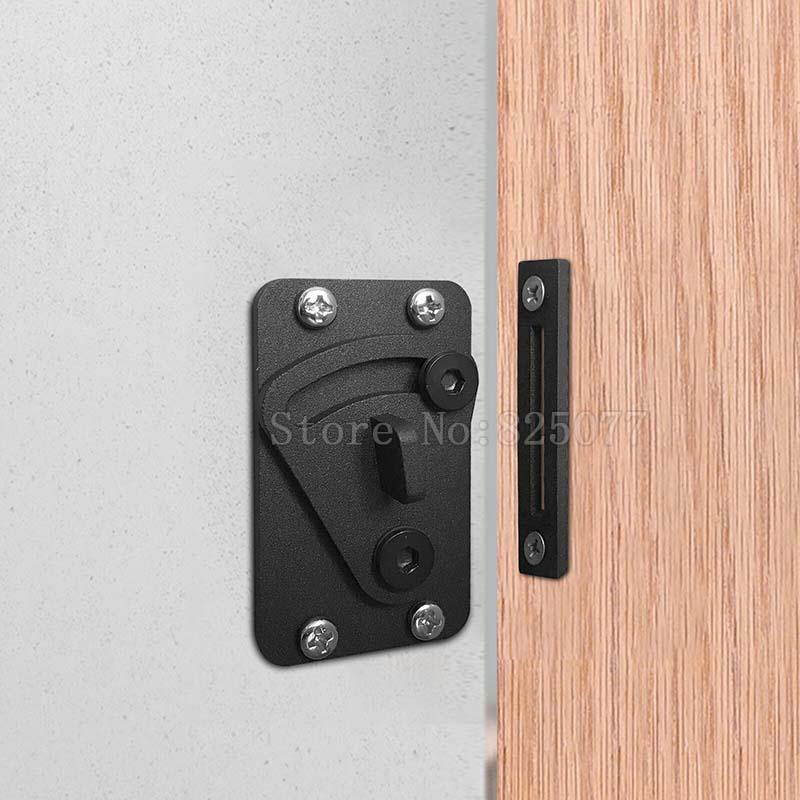 1PCS 2018 New Style Stainless Steel Sliding Barn Door Lock Black Wood Door Door Latch JF1612 in Locks from Home Improvement