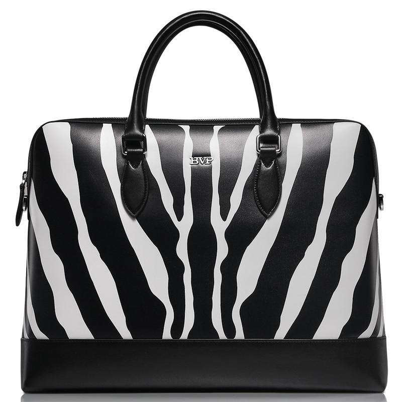 BVP High end Branded Genuine Leather Zebra Texture font b Men s b font Business 15