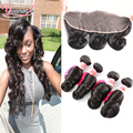 Cheap Lace Frontal Closure With Bundles Loose Wave 3 Bundles With Frontal Closure 8-30 Brazilian Human Hair Bundles With Frontal
