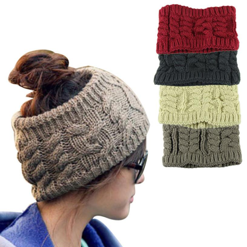 snowshine YLI Fashion Empty Hat Women Headwear Head Wraps Crochet Twist Flower Elastic Hair accessories
