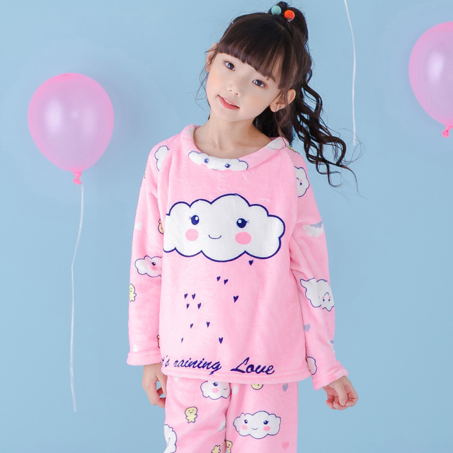 5847c3dc5 New Children Flannel home Clothes Sets Baby Sleepwear Long Sleeve ...