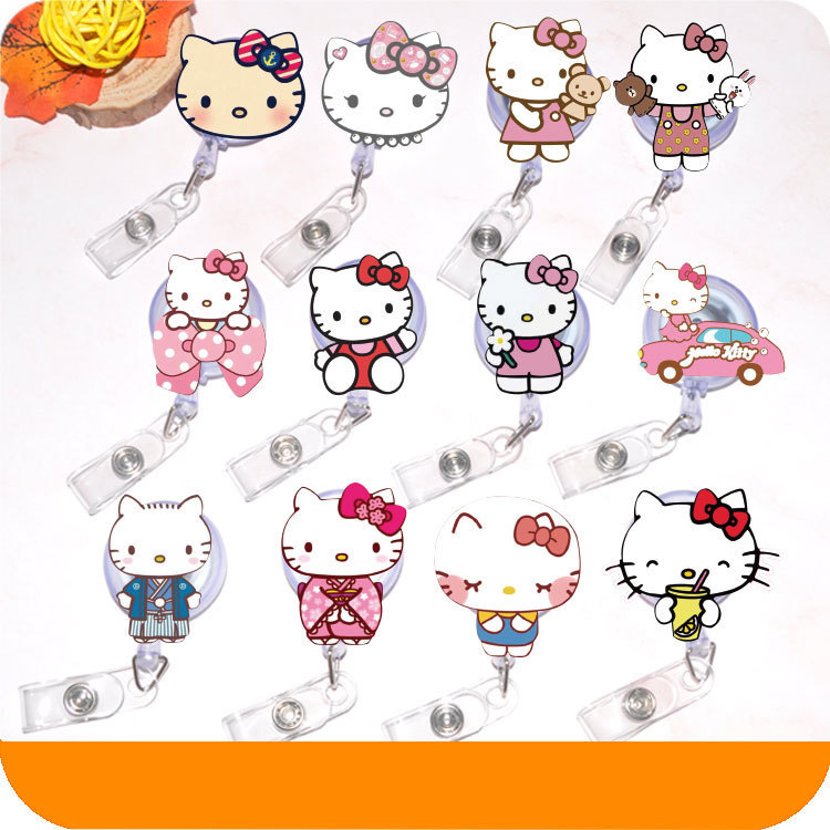 Cute Cartoon Design Nurse Kitty Cat  Retractable Badge Reel Pull ID Card Badge Holder Belt Clip Hospital School Office