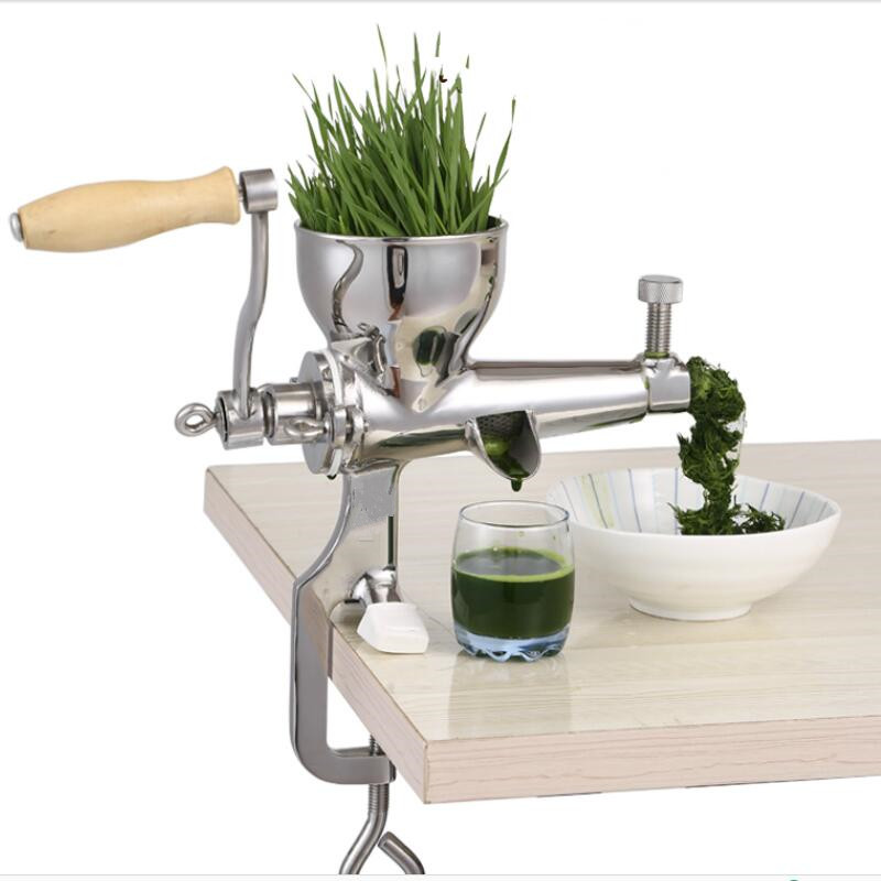Wheat grass juice extractor manual stainless steel screw slow juicer stainless steel hand wheatgrass juicer machine manual auger slow juice ideal for fruit vegetables orange juice extractor